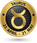 Taurus Zodiac Gold Sign, Taurus Symbol Vector Illustration