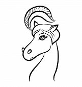 Vector Line Illustration Of A Horse - The Symbol Of 2014