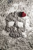 stock photo of ashes  - Death skull with red love heart made of grey ash - JPG