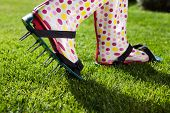 image of aeration  - Woman wearing spiked lawn revitalizing aerating shoes - JPG