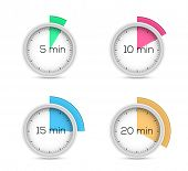 Set of timers - five, ten, fifteen and twenty minutes