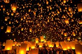 stock photo of traditional  - Flying Sky Lantern on Yeepeng festival - JPG