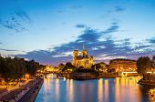 Panorama of Notre Dame Cathedral at dusk in Paris, France