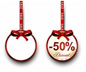 Two sale and discount paper label with red bow and ribbon. Vector.