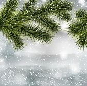 Winter abstract background with spruce twigs. Christmas vector illustration. Eps10.