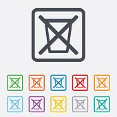 Do not throw in trash. Recycle bin sign icon.