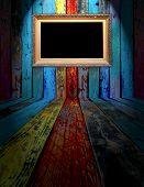 Blank Frame in Dark Empty Room