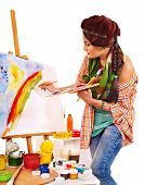 Artist woman at work. Isolated.