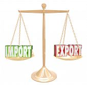 Import and Export 3d words on a scale to show balance in international trade and no surplus or deficit between trading countries or nations