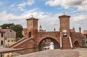 foto of ferrara  - the antique bridge Trepponti a famous five-way bridge in Comacchio Ferrara Italy ** Note: Soft Focus at 100%, best at smaller sizes - JPG
