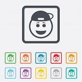 Smile rapper face icon. Smile symbol.