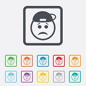 Sad rapper face sign icon. Sadness symbol.