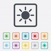 Sun sign icon. Solarium symbol. Heat button.