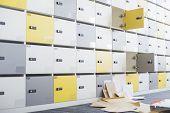 Files fallen in locker room at creative office