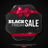 Black friday sale background with shining glass frame, photorealistic bow and place for text. Vector