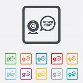 Video chat sign icon. Webcam video speech bubble