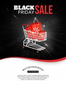 Black friday sale shining background with photorealistic shopping cart and place for text. Vector il