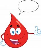 Red Blood Drop Cartoon Mascot Character Giving A Thumb Up With Speech Bubble