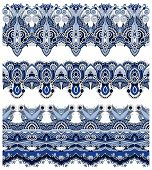 Постер, плакат: seamless ethnic floral paisley stripe pattern border set