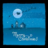 Vector merry christmas greeting card, nighttime landscape