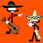 mexican mariachi pictogram cartoon