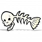 spooky skull fish bones cartoon