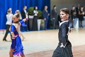 Minsk-belarus, October 19, 2014: Unidentified Dance Couple Performs Youth-1 Latin-american Program O