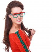 Autumn. Cute girl with rowanberry glasses