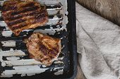 Food. Grilled steak on a tray