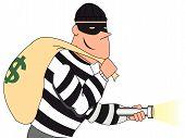 Portrait of Burglar holding bag of money and flashlight