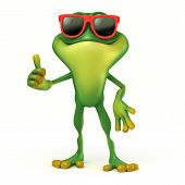 stock photo of glass frog  - 3d render cartoon of frog illustration collection - JPG