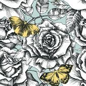 Retro flowers and butterfly seamless pattern, hand drawn roses background