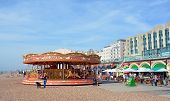 Carousel On  Brighton Beach, England Uk.