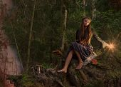 pic of witch  - Beautiful witch sitting on a tree trunk in the forest - JPG