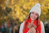 smiling happy girl warm woollie