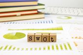 stock photo of swot analysis  - SWOT word on rubber stamps place on graph analysis of business reports concept to evaluate and planning projects - JPG
