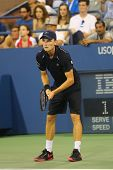 Professional tennis player David Goffin during US Open 2014 third round match