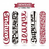 Letterings Print For Snowboards