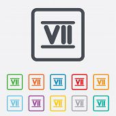 Roman numeral seven icon. Roman number seven sign.