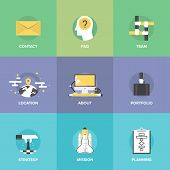 Business Organization Elements Flat Icons Set
