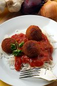 Meatballs With Home Made Spaghetti On A Plate poster