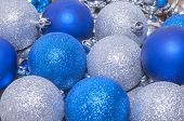 Colorful Blue And Silver  Christmas Decoration Baubles