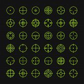 Set of different flat vector crosshair sign icons. Line simple symbols. Target aim symbol. Circles a