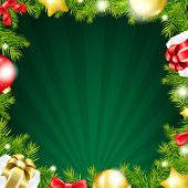 Green Xmas Sunburst Color Card With Gradient Mesh, Vector Illustration