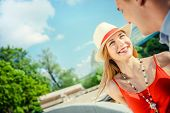 Young smiling couple outdoors