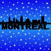 Montreal skyline reflected with snow illustration