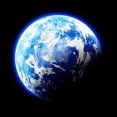 Earth Like Planet On Black Background