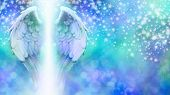 stock photo of guardian  - Wide blue bokeh background with a rainfall of different sized sparkles falling from top to bottom and a large pair of Angel Wings on the left side with a shaft of bright light between - JPG