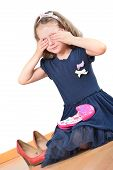 image of little girls photo-models  - Cute little girl closing her eyes while playing with kids make - JPG