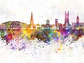 Derby Skyline In Watercolor Background